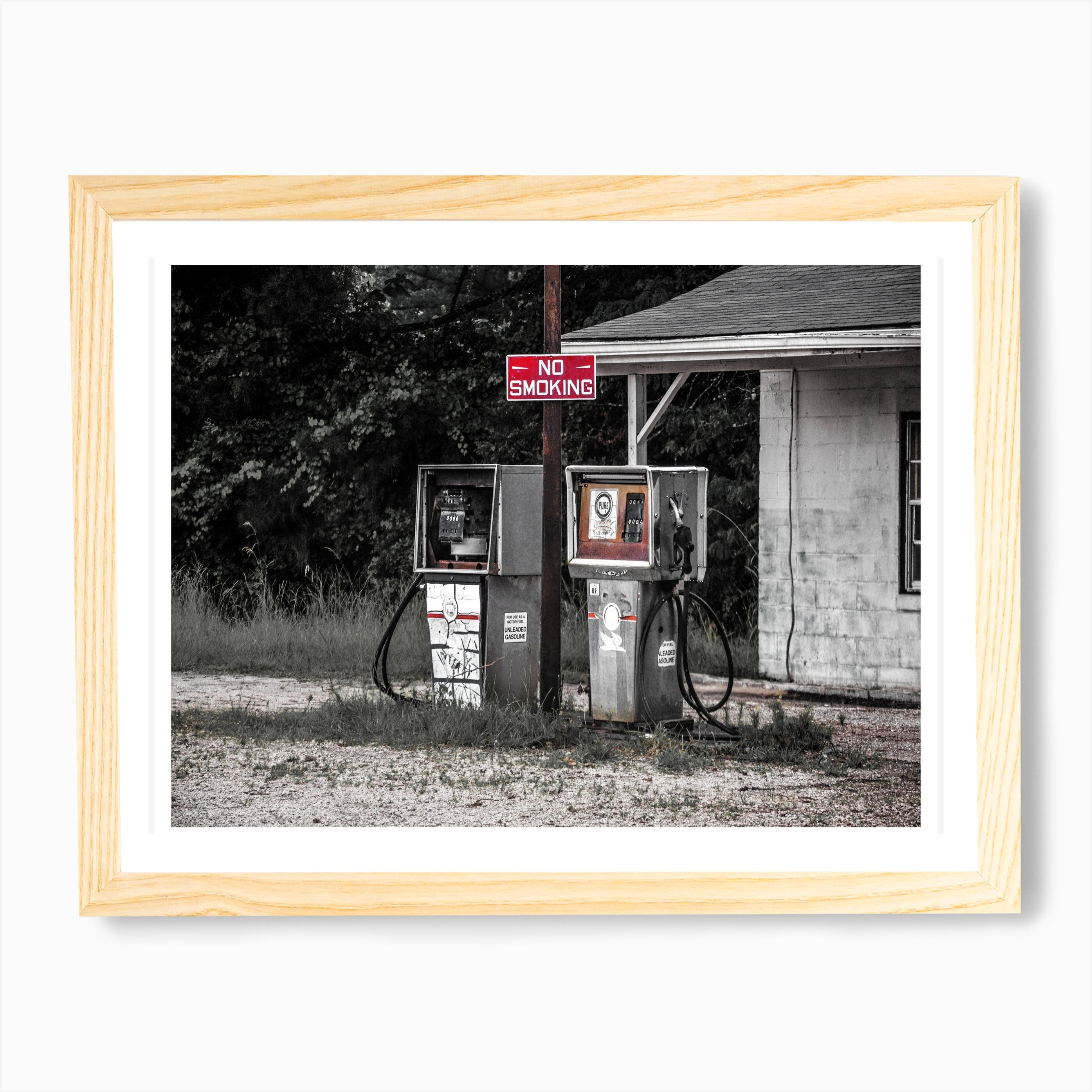Vintage America Abandoned Gas Station Art Print Free Shipping Fy