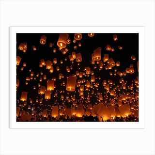 Floating Lanterns Art Print