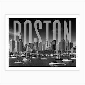 Boston Skyline Monochrome Art Print