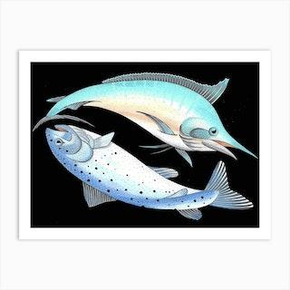Swordfish And Salmon Art Print