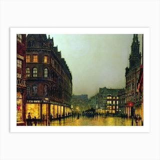 Boar Lane, Leeds, 1881 by John Atkinson Grimshaw Art Print
