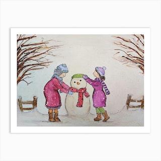 Ethel And Sue Build A Snowman Art Print