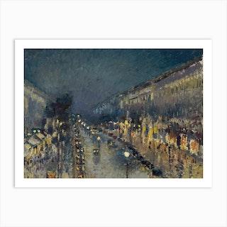 Boulevard Montmartre At Night, Camille Pissarro Art Print