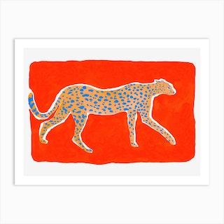 Leopard Orange Art Print