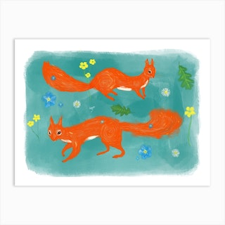 Red Squirrels And Wildflower Art Print