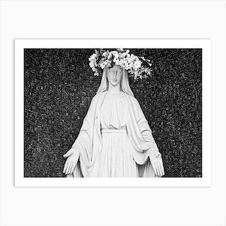 Mary Flower Head Bw Art Print