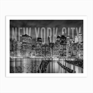 New York City Skyline Monochrome Art Print