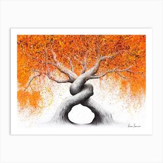 Twisting Love Trees Art Print