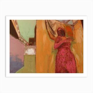 Woman In Pink Dress Art Print