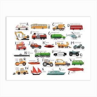 Transportation Alphabet Art Print