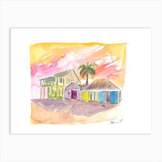 St Lucia Colorful Houses And Sunset Art Print
