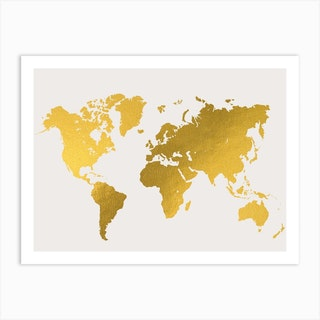 World Map Gold White Art Print