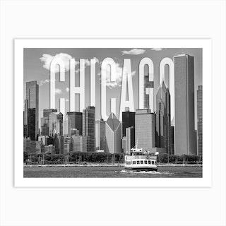Chicago Skyline Monochrome Art Print
