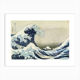 The Great Wave Off Kanagawa Green Art Print