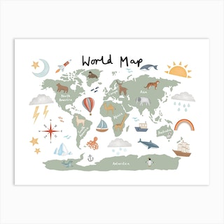 World Map In Green Art Print