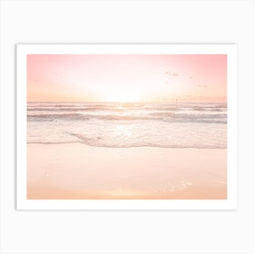 Waves And Sunset  Art Print