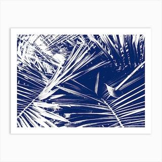 Palm Dark Blue Art Print