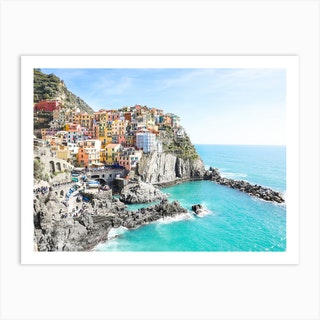 Colourful Manarola Italian Riviera Art Print