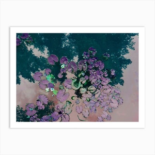 Lotus Green Purple Art Print