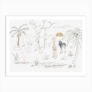Safari Friends Art Print