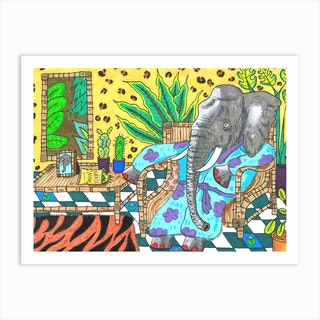 Elephant At Home Art Print