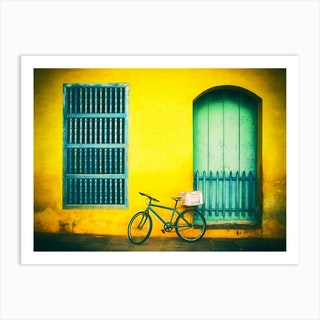 Bicycle Leaning Against Painted Wall Trinidad Cuba Art Print
