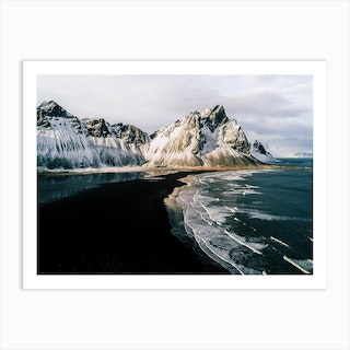 Mountain At A Black Sand Beach In Iceland Art Print