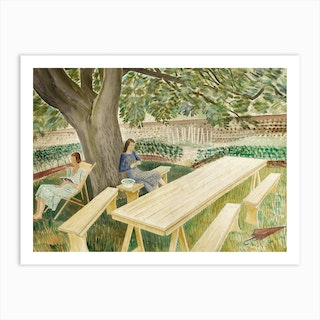 Two Women Sitting in a Garden, 1933 by Eric Ravilious Art Print