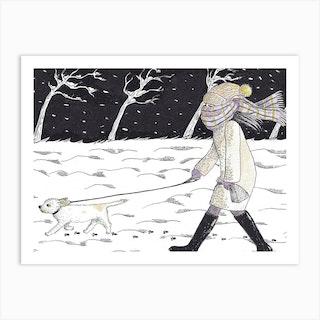 Bitter Cold Night Stroll Art Print