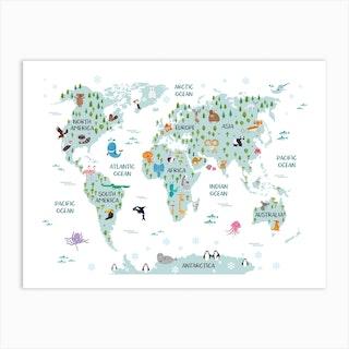 Animal World Map Art Print