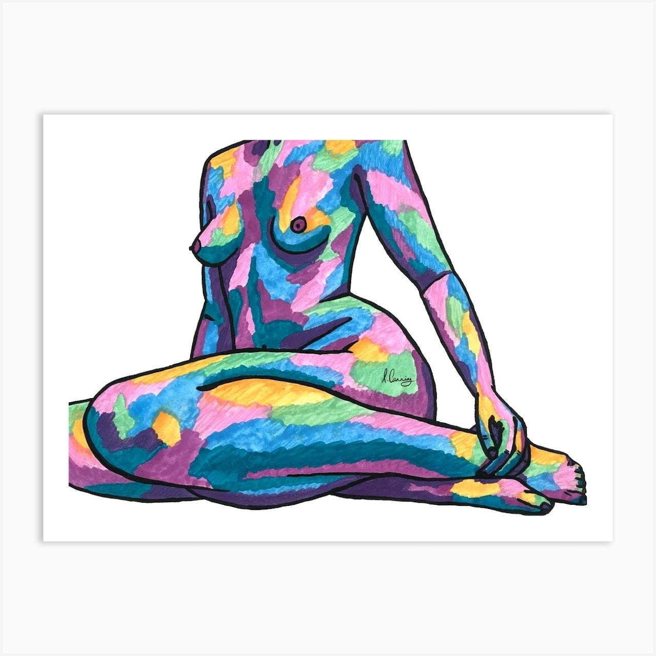 Nude Woman Aqua Tones Art Print by Art by Izzy - Fy