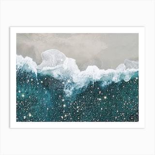 Aereal Beach Glitter Art Print