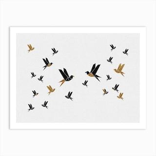Origami Birds Collage Iii Art Print