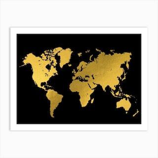 World Map Gold Black Art Print