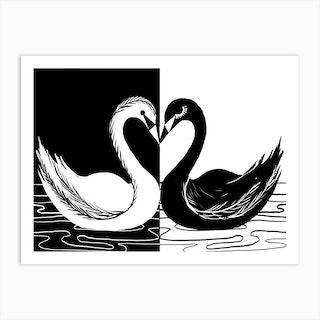 Black White Swan Art Print