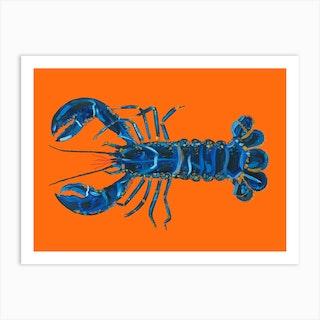 Lobster On Orange Art Print