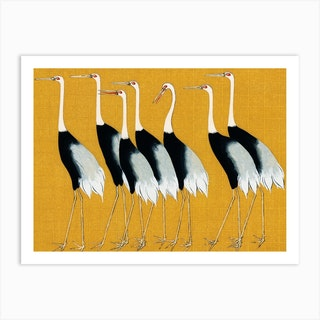 7 Birds Japanese Yellow By Korin Art Print