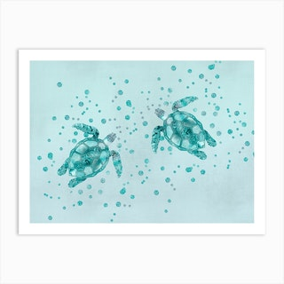 Glamour Turtles Art Print