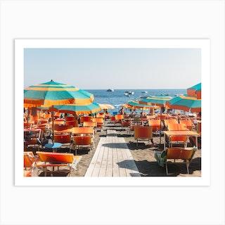 Beach Umbrellas Positano Art Print