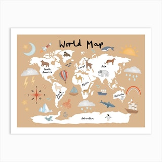 World Map In Sand Art Print