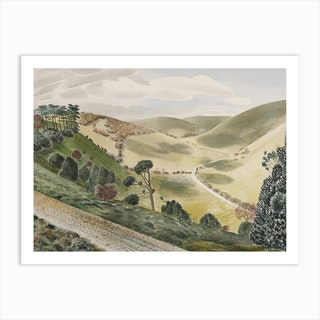 The Causeway, Wiltshire Downs, Eric Ravilious Art Print