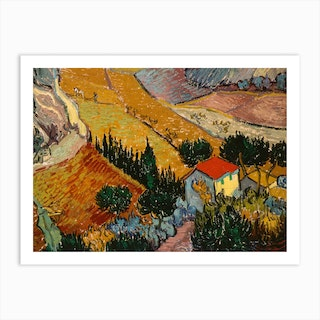 Landscape With House And Ploughman, 1889 by Vincent van Gogh Art Print