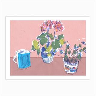 Blue Jug And Dancing Flowers  Art Print