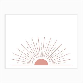 Half Sunburst Pink Art Print