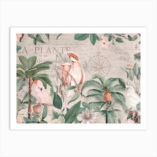 Nostalgic Cockatoo Jungle Art Print