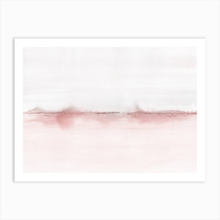 Watercolor Landscape 5 Soft Pink And Gray Art Print