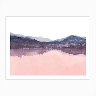 Watercolor Landscape 4 Pink And Indigo Art Print