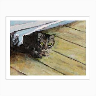 Hiding Cat Art Print