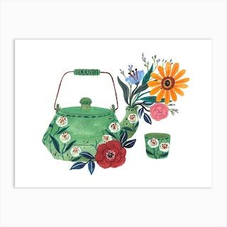Teapot And Floral Art Print