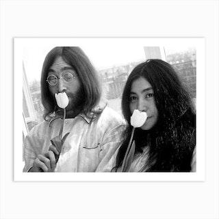 John Lennon And Yoko Ono Receiving In Their Bed In Hilton Hotel  Art Print